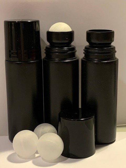 3 oz. Black HDPE Plastic Roll On Bottle (Not Refillable) Includes: Bottle, Cap and Ball - Cased 595 - Rock Bottom Bottles / Packaging Company LLC