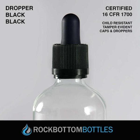 30ml Black Droppers - Rock Bottom Bottles / Packaging Company LLC