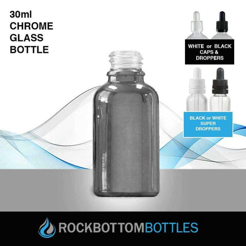 30ml Chrome Glass Bottle - Rock Bottom Bottles / Packaging Company LLC