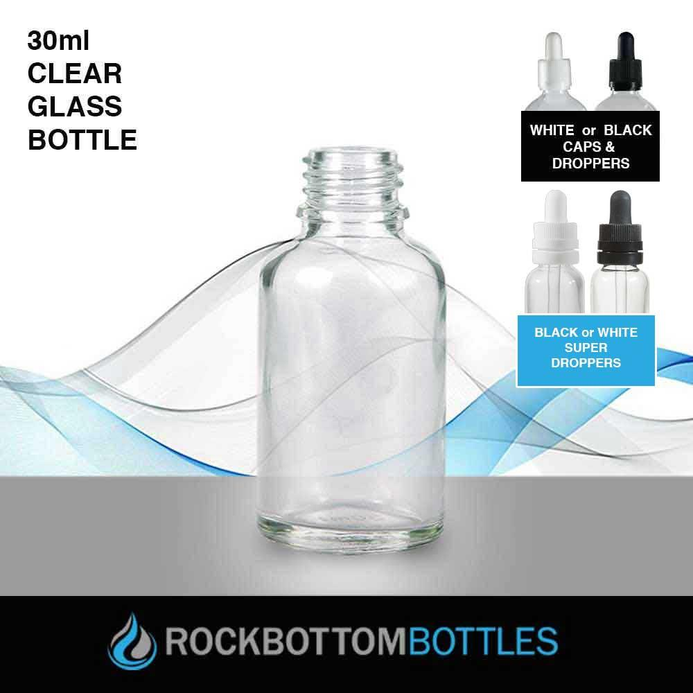 30ml Clear Glass Bottle - Rock Bottom Bottles / Packaging Company LLC