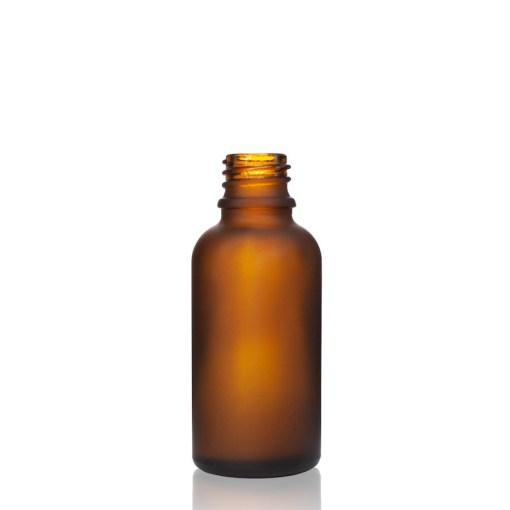 30ml Frosted Amber bottle with 18/415 neck - CASED 330- Bottle Only - Rock Bottom Bottles / Packaging Company LLC