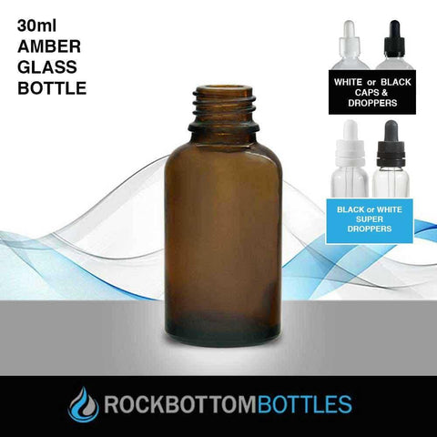 30ml Glass Amber 18-415 - Rock Bottom Bottles / Packaging Company LLC