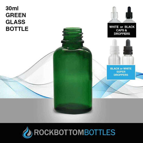30ml Green Glass Bottle - Rock Bottom Bottles / Packaging Company LLC