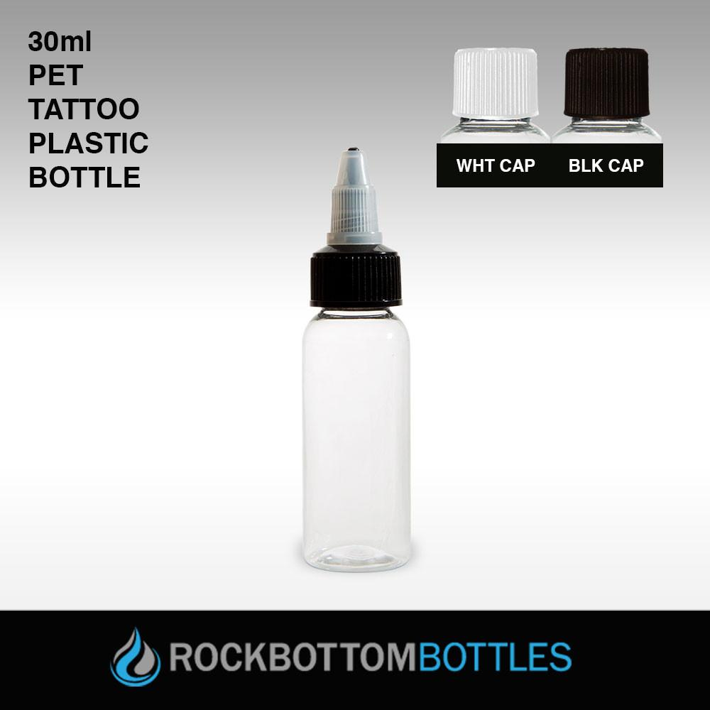 30ML - PET TATTOO PLASTIC BOTTLE -WHITE CAP - CASED 1080 - Rock Bottom Bottles / Packaging Company LLC