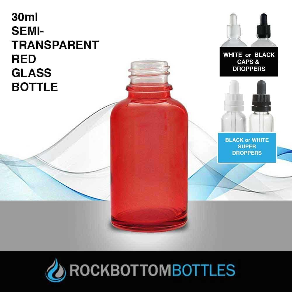 30ml Red Glass Bottle - Rock Bottom Bottles / Packaging Company LLC
