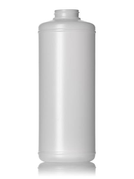 32 oz natural-colored HDPE cylinder round bottle with 38-400 neck finish - CASED 100 - Rock Bottom Bottles / Packaging Company LLC
