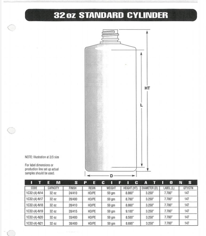 32oz Natural HDPE Cylinder 28-410, 54 gram, Cased 163, 12 Cartons per pallet, 28 Pallets Per Truck,  54,768 units per Truck Load - Rock Bottom Bottles / Packaging Company LLC