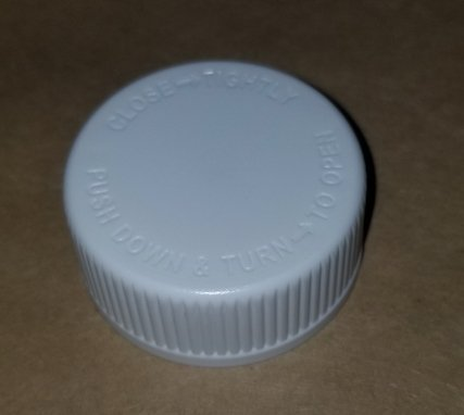 33-400 White PP Child Resistant Cap CRC with Pressure Seal Liner - CASED 2000 - Rock Bottom Bottles / Packaging Company LLC