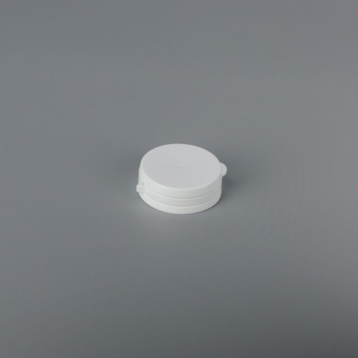 38-400 Hinge Guard White tamper evident cap with pressure seal - CASED 2100 - Rock Bottom Bottles / Packaging Company LLC