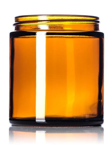 4 oz amber glass straight-sided round jar with 58-400 neck finish- CASED 192 - Rock Bottom Bottles / Packaging Company LLC