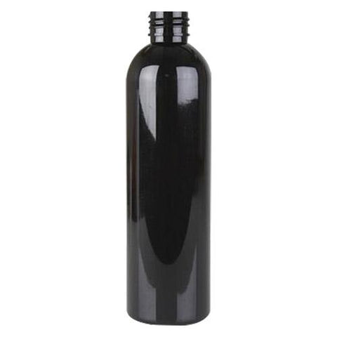 4 oz Black PET cosmo round bottle with 24-410 neck finish - CASED 805 - Rock Bottom Bottles / Packaging Company LLC