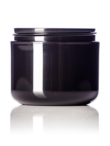 4 oz black PP double wall round base jar with 70-400 neck finish - CASED 560 - Rock Bottom Bottles / Packaging Company LLC