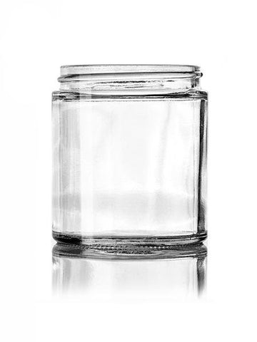 4 oz clear glass straight-sided round jar with 58-400 neck finish - CASED 240 - Rock Bottom Bottles / Packaging Company LLC