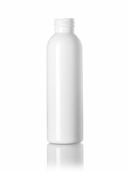 4 oz white PET cosmo round bottle with 24-410 neck finish - CASED 805 - Rock Bottom Bottles / Packaging Company LLC
