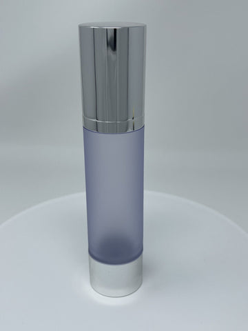 50ml Airless Pump - FROSTED Bottle Chrome Bottom and Cap White Pump - CASED 600 - Rock Bottom Bottles / Packaging Company LLC