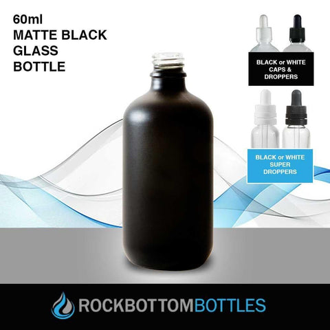 60ml Black Matte Glass Bottle - Rock Bottom Bottles / Packaging Company LLC