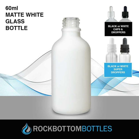 60ml White Matte Glass Bottle - Rock Bottom Bottles / Packaging Company LLC