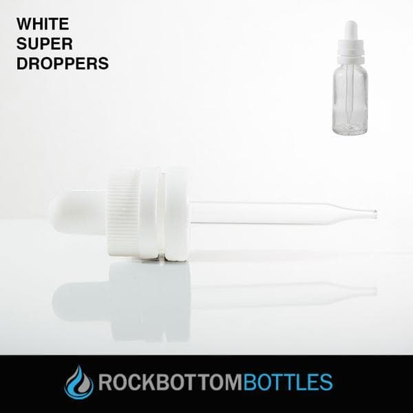 60ml White Super Droppers - Rock Bottom Bottles / Packaging Company LLC