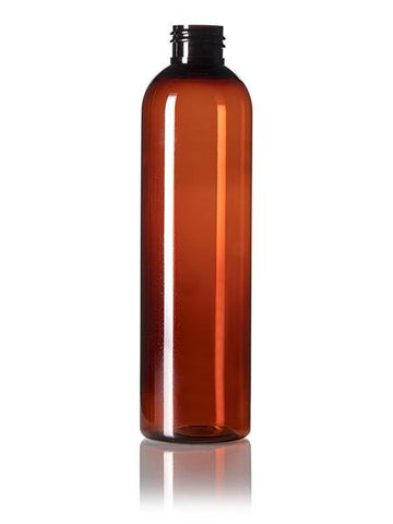 8 oz amber PET cosmo round bottle with 24-410 neck finish - CASED 468 - Rock Bottom Bottles / Packaging Company LLC