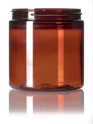 8 oz amber PET single wall jar with 70-400 neck finish-CASED 480 - Rock Bottom Bottles / Packaging Company LLC
