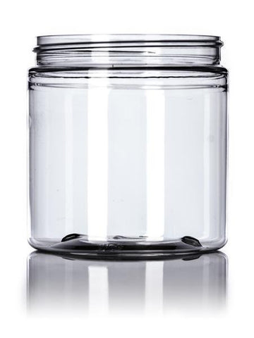 8 oz clear PET single wall jar with 70-400 neck finish - CASED 200 - Rock Bottom Bottles / Packaging Company LLC