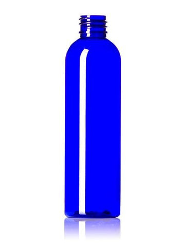 8 oz cobalt blue PET plastic bullet round bottle with 24-410 neck finish - Cased 356 - Rock Bottom Bottles / Packaging Company LLC