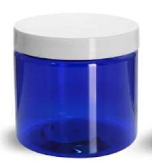 8oz 250ml 89mm Cobalt PET Jar with White Smooth PP Lid and PS Liner 89mm - Rock Bottom Bottles / Packaging Company LLC