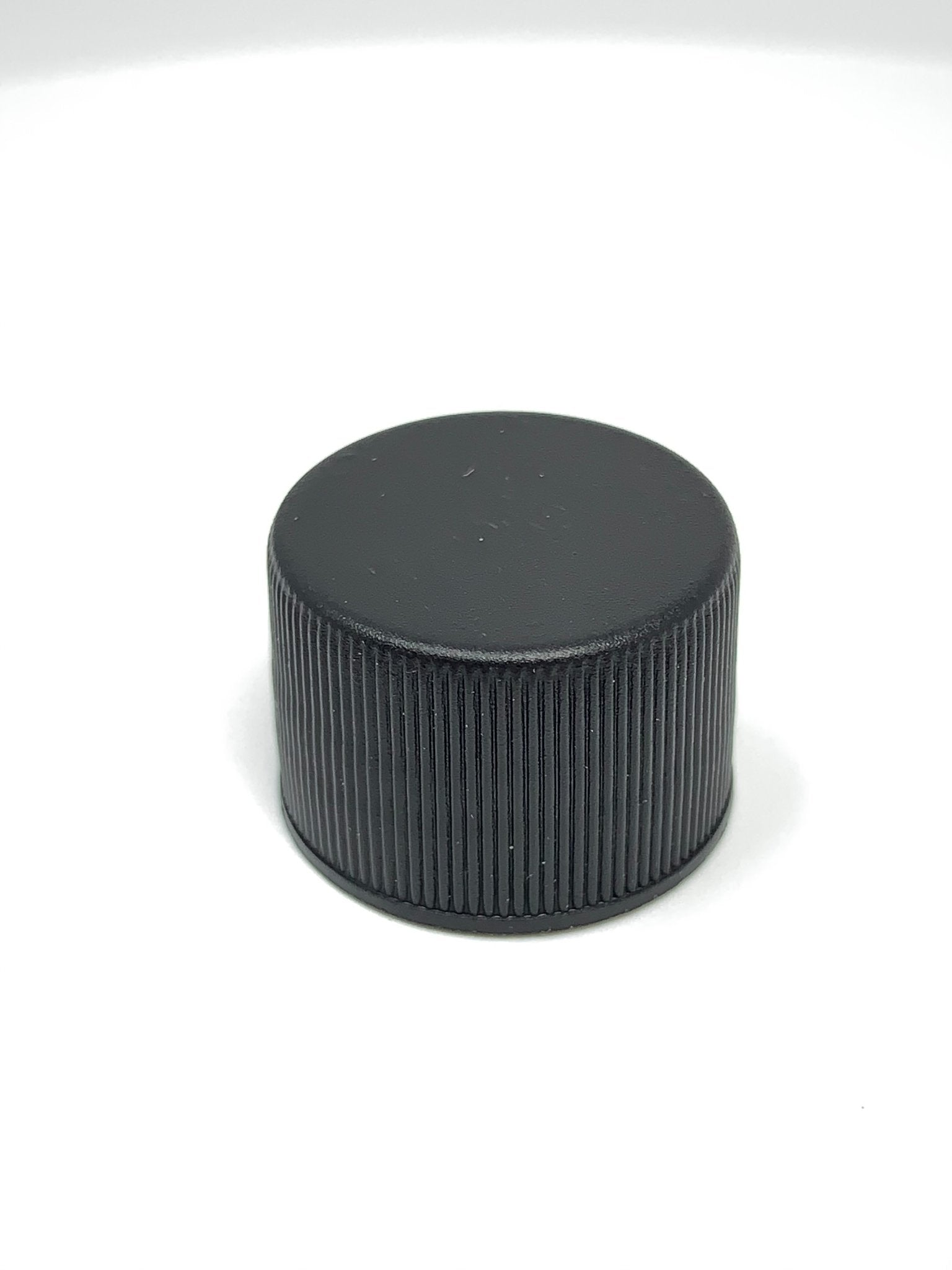 Black 18/415 Flat Cap Fine Ribbed PE Foam Liner - SINGLE - Rock Bottom Bottles / Packaging Company LLC