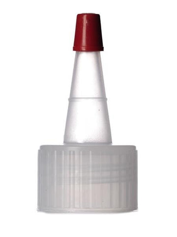 Natural-colored PP 24-410 ribbed skirt yorker spout with red tip - 100 - Rock Bottom Bottles / Packaging Company LLC