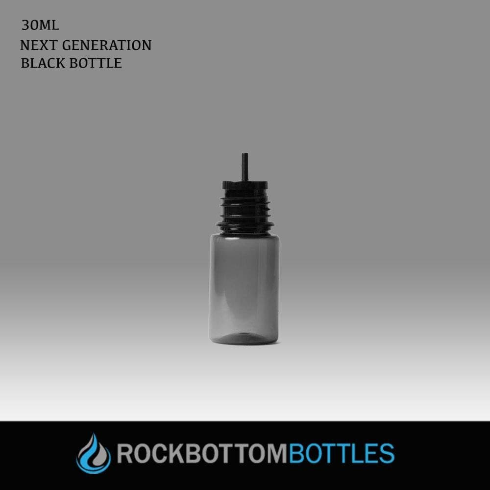 NEW GENERATION! 30ml Black Super Unicorns ( Tip in cap/ straight cylinder tip) - Rock Bottom Bottles / Packaging Company LLC