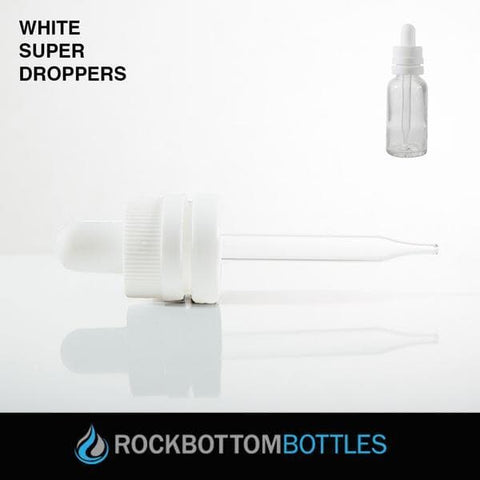 White 15ml Super Droppers - Rock Bottom Bottles / Packaging Company LLC