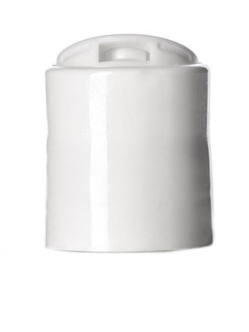 White PP 20-410 smooth skirt disc top cap no liner Cased 4000 - Rock Bottom Bottles / Packaging Company LLC