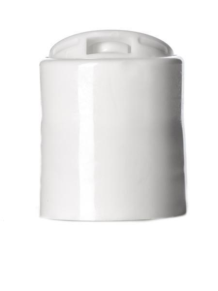 White PP 24-410 smooth skirt disc top cap with pressure seal -  Cased 4000 - Rock Bottom Bottles / Packaging Company LLC