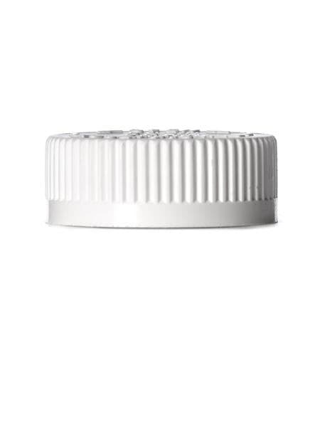White PP 38-400 child-resistant cap with foam liner and printed pressure sensitive (PS) liner - CASED 1500 - Rock Bottom Bottles / Packaging Company LLC