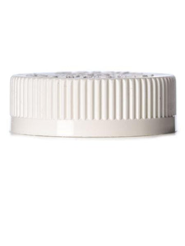 White PP 45-400 child-resistant cap with printed pressure sensitive (PS) liner CASED 1100 - Rock Bottom Bottles / Packaging Company LLC