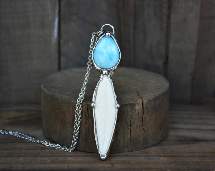 Larimar & Bone Feather Necklace