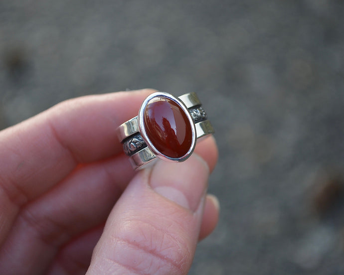 Triple Band Carnelian Ring // Size 5.75