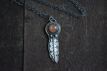 Peach Moonstone Feather Necklace