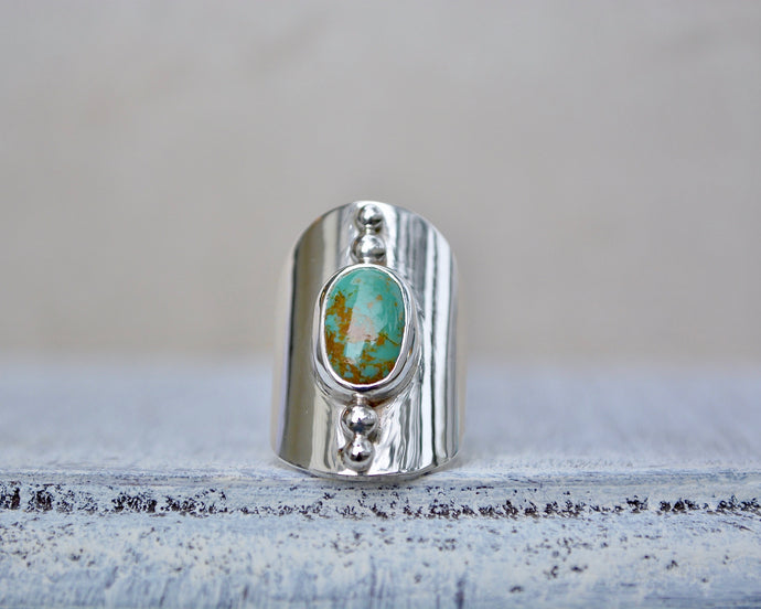 Turquoise Shield Saddle Ring // Size 7.25