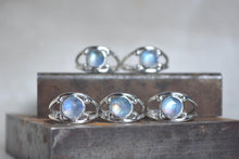 Rainbow Moonstone Four Point Ring Size 4.5