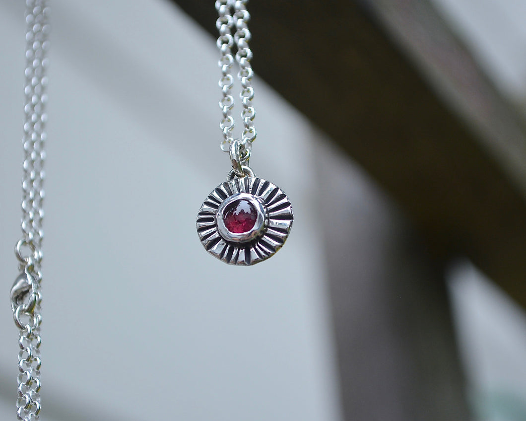 Garnet Sun Burst Necklace