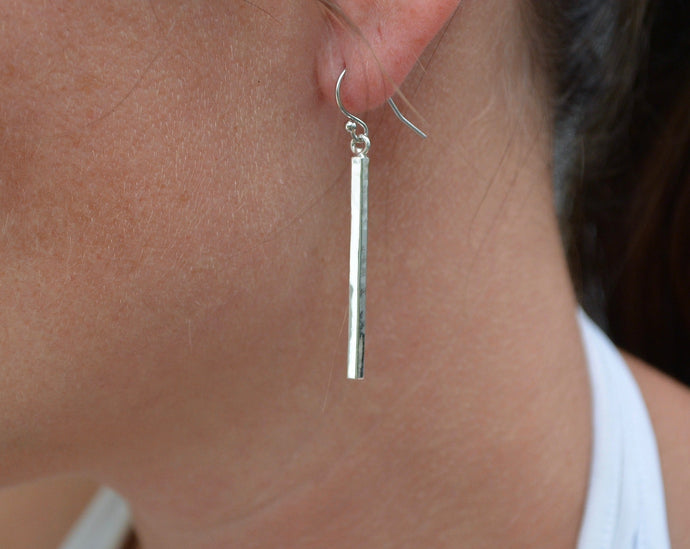 Recycled Sterling Bar Earrings