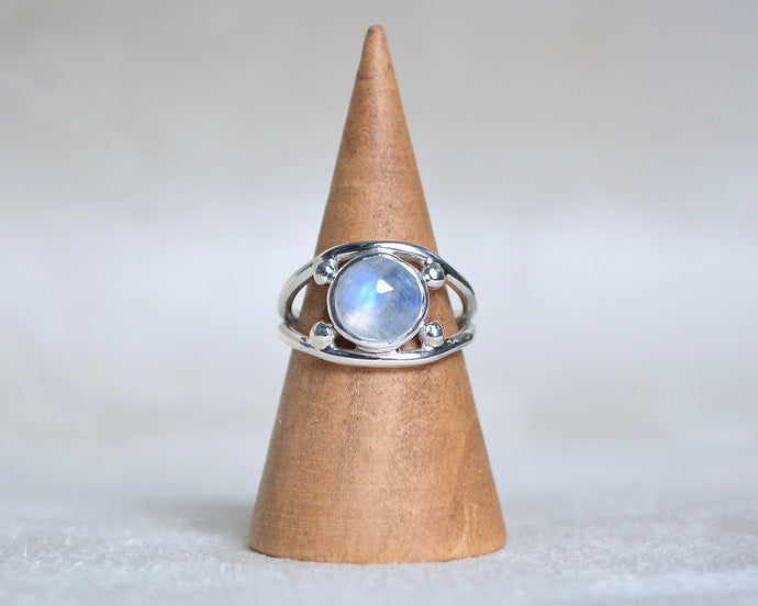 Rainbow Moonstone Four Point Ring Size 5.25