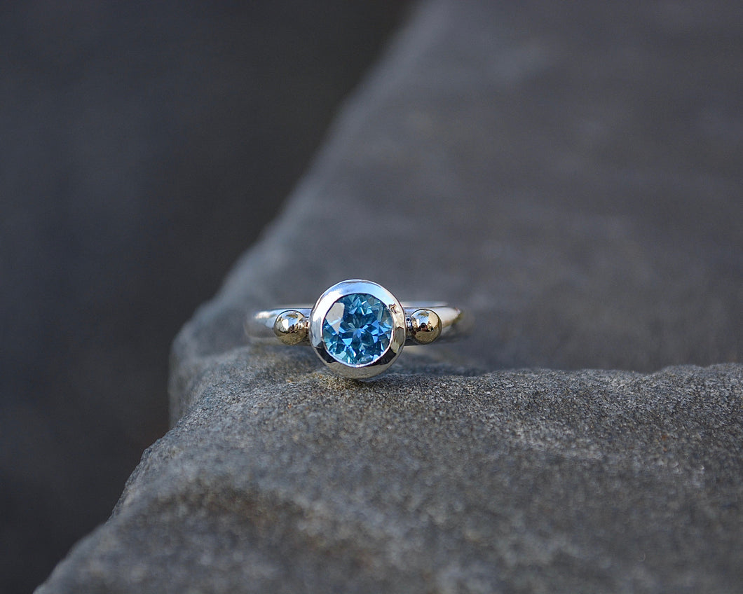 Swiss Blue Topaz Empress Ring Sterling & 10K Gold // Size 6.25