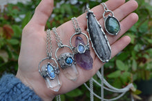 Clear Quartz Labradorite Point Necklace