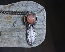 Peach Man in the Moonstone Feather Necklace