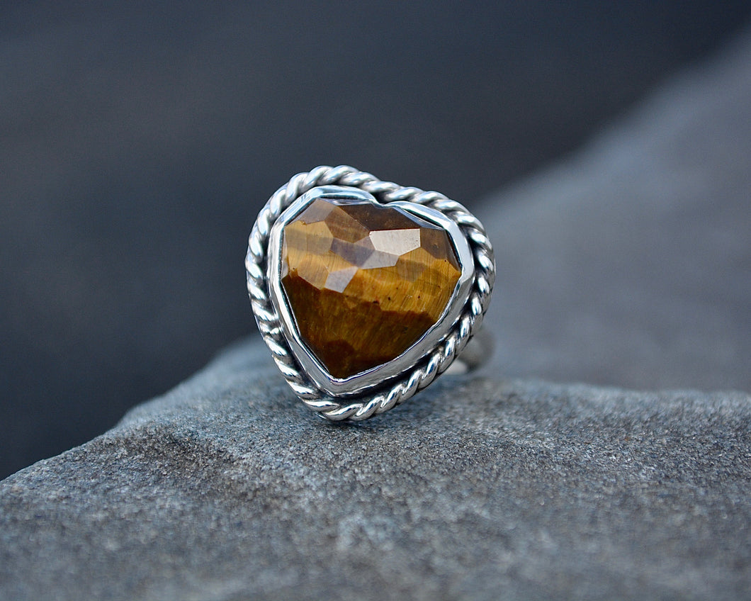 Rose Cut Tigers Eye Heart Ring