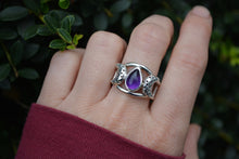 Amethyst Moon Ring Size 8.25