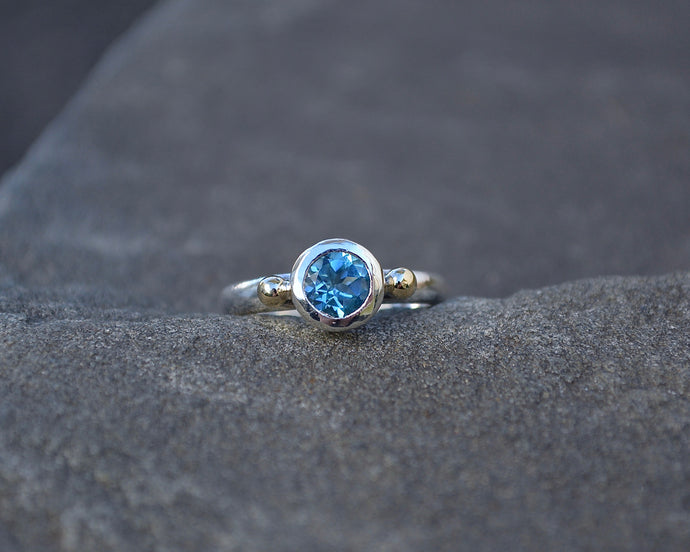Swiss Blue Topaz Empress Ring Sterling & 10K Gold // Size 7.25