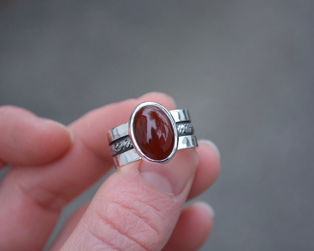Triple Band Carnelian Ring // Size 7.75